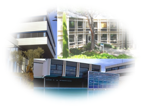 A view of three buildings accommodating the I3S lab